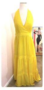 Sun Goddess Maxi Halter Dress